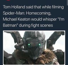 "Marvel Facts & News FACTS Tom Holland said that while filming Spider-Man: Homecoming, Michael Keaton would whisper ""I'm Batman"" during fight scenes - iFunny :) Marvel Funny, Marvel Memes, Marvel Dc Comics, Marvel Avengers, Im Batman, Spiderman, Marvel Facts, Michael Keaton, Pokemon"