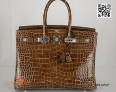 Hermes Birkin Bag 35cm Crocodile Shiny Gris Elephant Porosus