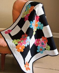 LOVE LOVE! quilt--black and white with color