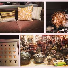 #Love these finds at #hpmkt Our Abby sofa in a new fabric story, a modern #lighting fixture, butterfly wing art display from @naturalcuriosities and #vintage look glass wear.