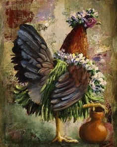 """""""Hula Hen"""" Hand Signed Limited Edition Giclee 9"""" x 12"""" at Maui Hands"""