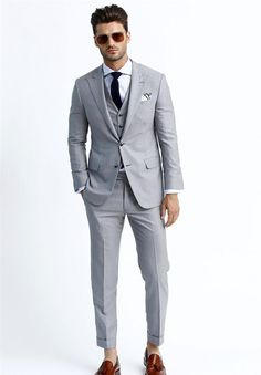 Silver Handsome Tuxedos Three Pockets Blazers Men Three Pieces Coat Vest Pants Fashion Men Slim Suits Suitable For Various Event. Fashion Pants, Fashion Men, Blazer Suit, Suit Jacket, Slim Suit, Poses For Men, Vest Coat, Sharp Dressed Man, Blazers For Men