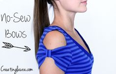 How to Make T-Shirt Bow Sleeves without Sewing – DIY Simple but really cute and super easy!
