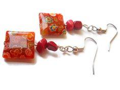 Pumpkin Orange Earrings Red Orange Earrings by chicagolandia, $13.00