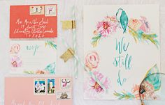 Oh So Beautiful Paper: Mona + Bassim's Calligraphy and Floral Vow Renewal Invitations. Great color scheme!