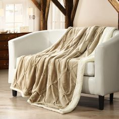 Alba Pinch Pleated Sherpa Faux Fur Throw Blanket