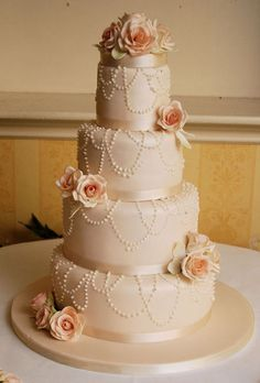 Vintage Rose Coral Wedding Cake serves 120