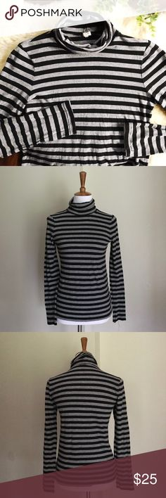 J.Crew Cotton Turtleneck Lightweight cotton turtleneck. Heather gray and black stripes. Gently used. Left cuff is coming unraveled (see photos) but that is the only flaw. True to size M (snug fit) or would fit size S a little loosely. J. Crew Factory Tops Tees - Long Sleeve