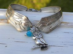 Spoon handle bracelet - owl charm - caribbean blue crystal bead - silv - Whispering Metalworks