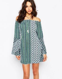 Boohoo Off The Shoulder Printed Smock Dress