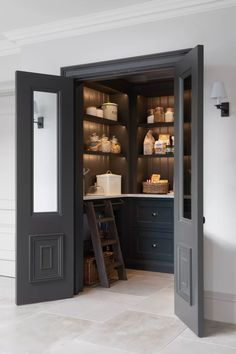 13 Stylish Pantry Ideas To Help You Get Organized Pantry Room, Walk In Pantry, Small Pantry, Kitchen Pantry Design, Kitchen Decor, Kitchen Ideas, Kitchen Pantries, Kitchen Cabinets, Küchen Design