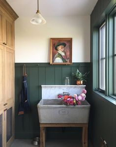 Utility Room // Testing out the new flower sink. This is Griffin's room (built in dog crate at left!), but can double as a flower lab. Utility Room Designs, Dark Paint Colors, Black Rooms, Modern Victorian, Dark Walls, Modern Traditional, Decoration, Diy, Interior Design