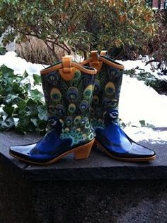 Painted peacock boots