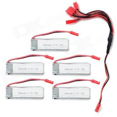 JST Plug 1-to-5 Charging Cable + 3.7V 500mAh Li-polymer Batteries Set - Silver + Red. Color Silver + Red + Multi-Colored Model N/A Material Li-polymer + PVC Quantity 5 Piece Compatible Models JST model plane Battery Actual Capacity 500 mAh Nominal Capacity 500 mAh Battery Type Li-polymer battery Voltage 3.7 V Input Voltage 3.7 V Output Voltage Others,No V Power Adapter Others,No Packing List 5 x Charging cable (27cm) 5 x Batteries. Tags: #Hobbies #Toys #R/C #Toys #Batteries #Chargers