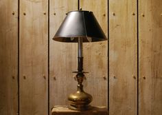 Brass desk lamp with twin bulbs. Available at Reginald Ballum.
