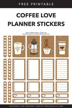 Free Printable Planner Stickers for Coffee-Lovers Weekly Planner Printable, Free Planner, Happy Planner, Planner Ideas, Planner Sheets, Planner Pages, Printable Designs, Free Printables, College Planner