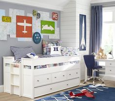 Organic Check Duvet Cover | Pottery Barn Kids Sky's room love the wall decor