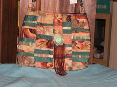 Quilted Multicolored Bag Purse Tote Handmade with Shoulder by smae, $19.95