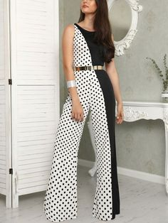Shop Contrast Color Polka Dot Sleeveless Wide Leg Jumpsuit right now, get great deals at Joyshoetique. Wide Leg, Casual Summer Dresses, Dress Casual, Summer Outfit, Mode Chic, Short Legs, Overall, Classy Dress, Spring Summer Fashion