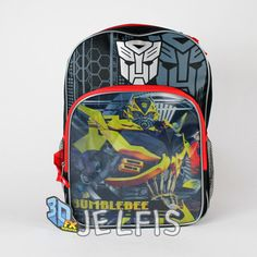 """Jelfis.com - Transformers 3D FX Holographic Bumblee Bee Optimus Prime 16"""" School Backpack Bag, $17.99 (http://www.jelfis.com/transformers-3d-fx-holographic-bumblee-bee-optimus-prime-16-school-backpack-bag/)"""