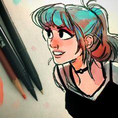 ✨Gaze✨ - Inked then colored in PS.  #art #drawing #sketch #ink #pirtrair