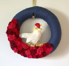 Country Chicken Wreath, Yarn and Felt Wreath, Blue and Red Farm Theme