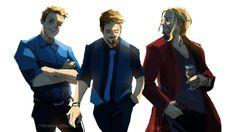 The Big Three - Steve, Tony, Thor  (art by fishee)