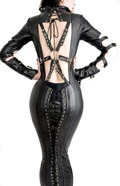 Steel Boned Italian Leather Couture Corset Hobble Dress