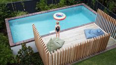 Pool fence detail - An above ground pool meets the new raised home extension. Photography – Scott Burrows courtesy of Arcke Architects. Backyard Pool Landscaping, Backyard Pool Designs, Small Backyard Pools, Small Pools, Swimming Pools Backyard, Garden Pool, Outdoor Pool, Lap Pools, Indoor Pools