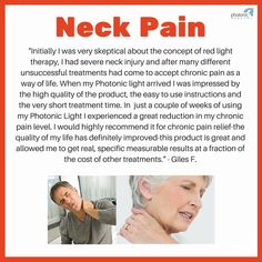 Neck Injury, Red Light Therapy, Neck Pain, Way Of Life, Chronic Pain, Exercise, Health, Ejercicio, Sore Neck