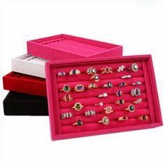 Beauty Jewellery Ring Necklace Display Storage Box Tray Holder Organizer Case #Unbranded