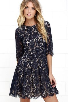 5413a22507 Romance and whimsy will always accompany you and the Love Letter Navy Blue  Lace Dress! Eyelash lace dress has three-quarter sleeves
