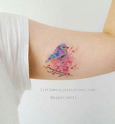 Cute Watercolor Bird Tattoo