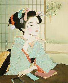 女性イラスト 美人画 七夕・願い [Kisho Tsukuda]