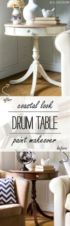 Drum table makeover using chalk paint (Amy Howard at Home at Ace hardware) and liming wax on table top. Paint Furniture, Furniture Projects, Furniture Makeover, Furniture Design, Chair Design, Wall Design, Design Design, Modern Furniture, Amy Howard
