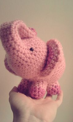 Elephant Crochet Stuffed Doll Toy Round Adorable Baby Pink. So in love with this omg!!!!!