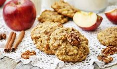 apples oats cinnamon cookies by Arzamasova. apples oats cinnamon cookies on a white wood background. Caramel Apple Cookies, Cinnamon Cookies, Caramel Apples, Apple Caramel, Healthy Vegan Snacks, Healthy Desserts, Desserts With Biscuits, No Bake Treats, Coconut Oil