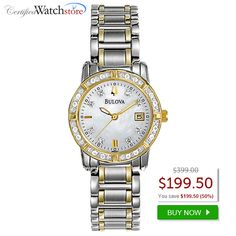 BEST DEAL! Bulova 98R107 Diamond  SAVE 50% OFF! Full of style features, starting with the 24 diamonds on the white mother of pearl dial and around the case, plus luminous hour/minite hands, gold effect second hand and date function.   SAVE 50% OFFhttp://www.certifiedwatchstore.com/bulova-98r107-watch-accented-ladies-silver-mop-dial-quartz-movement.html