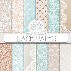 "Lace Digital Paper: ""LACE PAPER"" with  lace background, mint lace, beige lace, lace pattern for scrapbooking, cards, invitations"