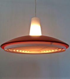 Upcycled midcentury lamp: new orange color