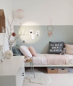 A beautiful soft sage wall is the perfect backdrop for this pretty scandi style-mädchen-schlafzimmer. Pretty blush linen and a few treasures make it cosy and. Teen Girl Bedrooms, Teen Bedroom, Casual Bedroom, Scandi Bedroom, Bedroom Decor, Bedroom Table, Bedroom Ideas, Nursery Ideas, Interior Decorating