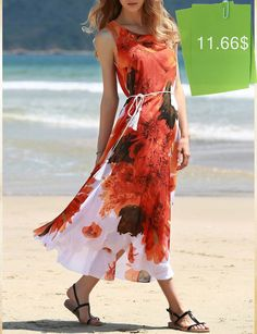 Graceful Sleeveless Round Collar Chiffon Red Floral Print Dress For Women