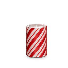 This Red & White candy striped glow makes this pillar perfect for the holidays.    Scent:  vanilla, cinnamon & cloves