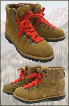 1970's - 1980's Vintage TRAPPERS Leather Big Red Lace Lug Sole Hiking Boots 8.5 #Trappers #HikingTrail
