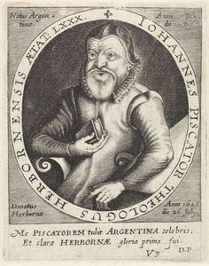 anoniem | Portret van Johannes Piscator, attributed to Paul de Zetter, 1650 - 1669 | Portret van Johannes Piscator, theoloog, met de bijbel in zijn hand op 80-jarige leeftijd. Onderaan een tweeregelige tekst in het Latijn. rechtsonder genummerd: V3.