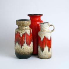 West German Pottery Vase Scheurich. Lora, Flame Pattern.  I've got some just like this!!!!