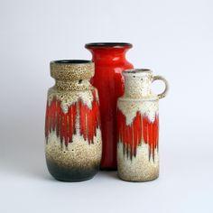 West German Pottery Vase Scheurich. Lora, Flame Pattern.