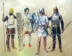 Persian sparabara - shieldbearer, cilician infantryman, babylonian archer and persian heavy armored soldier.