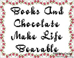 Funny Cross Stitch Pattern, Instant Download, Books And Chocolate Quote PATTERN ONLY