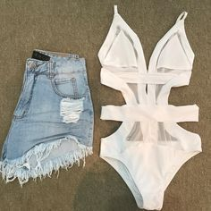 White and denim Teenage Outfits, Edgy Outfits, Swag Outfits, Outfits For Teens, Summer Outfits, Cute Outfits, Fashion Outfits, Ropa Interior Calvin, Look Con Short